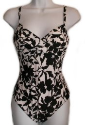 BODY I.D. 1 Piece Floral Black and White Swimsuit - 8