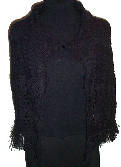 RAMPAGE Lacey Knit Poncho with Fringe - One Size