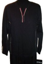 ERIKA Sport Black Ribbed Knit & Velour Sporty Top - Medium
