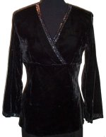 CAROLE LITTLE Low V Front Black Velvet Blouse Top - Small