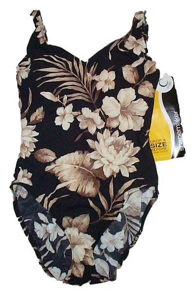 SHAPEMAKER 1 Pc Black Floral Bathing Suit / Swimsuit - Misses/Jrs 32C - BRAND NEW!