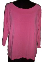 JONES NEW YORK SIGNATURE Pink Slinky Boat Neck Top - 1X