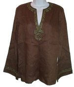 RAFAELLA Brown Linen Bohemian Flared Sleeve Tunic Top - Size 8