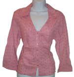 FRENCH CUFF Pink Embroidered Blouse - Size 12