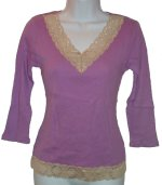 STYLE & CO Lavender Ribbed Knit Lace V-Neck Top - PS