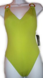 INC INTERNATIONAL CONCEPTS Lime Green V-Cut 1 Pc Swimsuit - 6, 10, 14