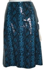 PARASUCO Blue Faux Snakeskin Skirt - Small