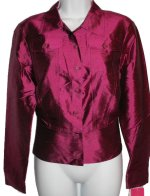 SUNNY LEIGH 100% Silk Fuchsia Jacket Style Blouse - Medium