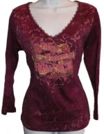 SUSAN LAWRENCE Studded Front 3/4 Sleeve Top - Medium