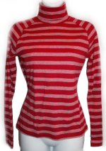 ANN TAYLOR Red & White Striped Turtleneck Top - XS