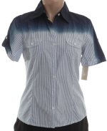 MICHAEL KORS Short Sleeve Ombre Fitted Shirt - Misses 4