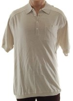 CLAIBORNE LUXE Fine Knit Button Front Collared Polo Shirt Top