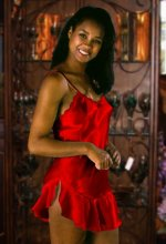 Red Satin Babydoll Chemise Nightgown - LARGE
