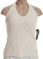 RALPH LAUREN Lauren Lined Linen Cotton Knit Halter Top Sweater - Size L