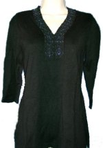 STYLE & CO Beaded V-Neck Sweater Tunic - Size PM