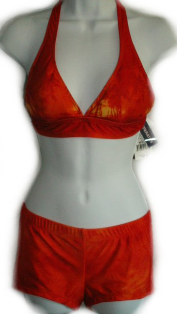 LEI L.E.I. Boy Shorts & Halter Bikini Top Bikini Swimsuit - Misses/Jrs Medium - NEW!