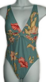 IT FIGURES Blue Floral Print 1 Piece Swimsuit - Size 8