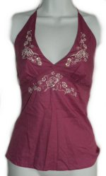 NECESSARY OBJECTS Embroidered & Sequined Halter Top - Small