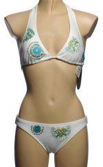 99 DEGREES White Beaded Bikini Swimsuit - Small