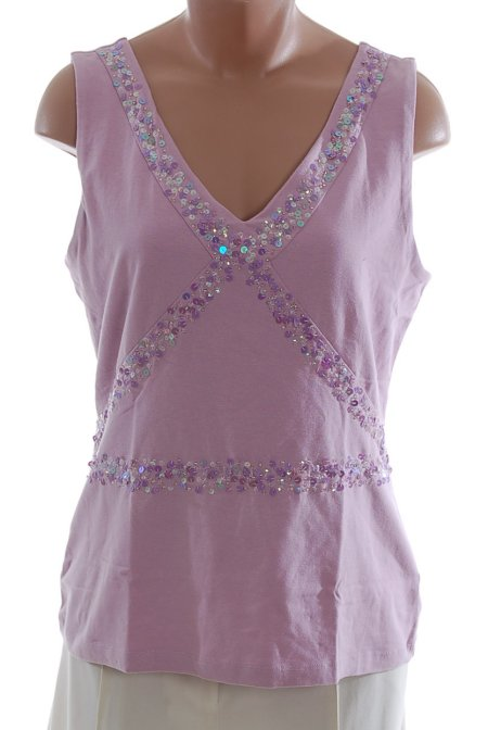 MODA INTERNATIONAL Mauve Sequined V-Neck Top - M