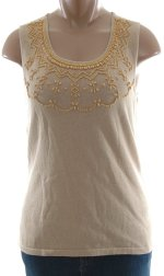 CHARTER CLUB Linen/Cotton Sleeveless Beaded Knit Top - Misses S, M, L