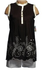 POW WOW Black Cutwork Tunic Top Blouse - Sizes 10,12