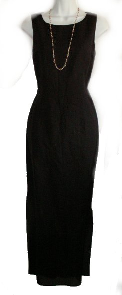 ADRIANNA PAPELL Black Linen/Rayon Sleeveless Long Sheath Dress - 8