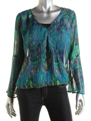 STATUS by CHENAULT Print Surplice Blouse - Size S