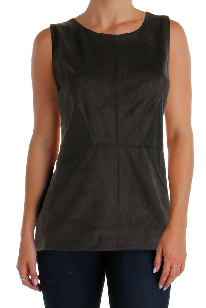 INC International Concepts Faux Suede Sleeveless Top - L