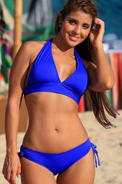 NINA Royal Blue Halter Sliding Bottom Bikini