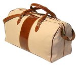 Venezia Italian Leather Canvas Duffle Bag