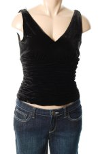 ADRIANNA PAPELL Black Velvet Rusched Top - 14