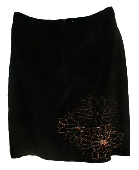 ALFANI 100% Genuine Leather Suede Embroidered Skirt - 14