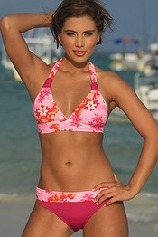 KARA Tropical Print Bikini ~ up to 2X