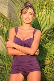 PAULETTE Purple Shirred Sides Tankini Camkini