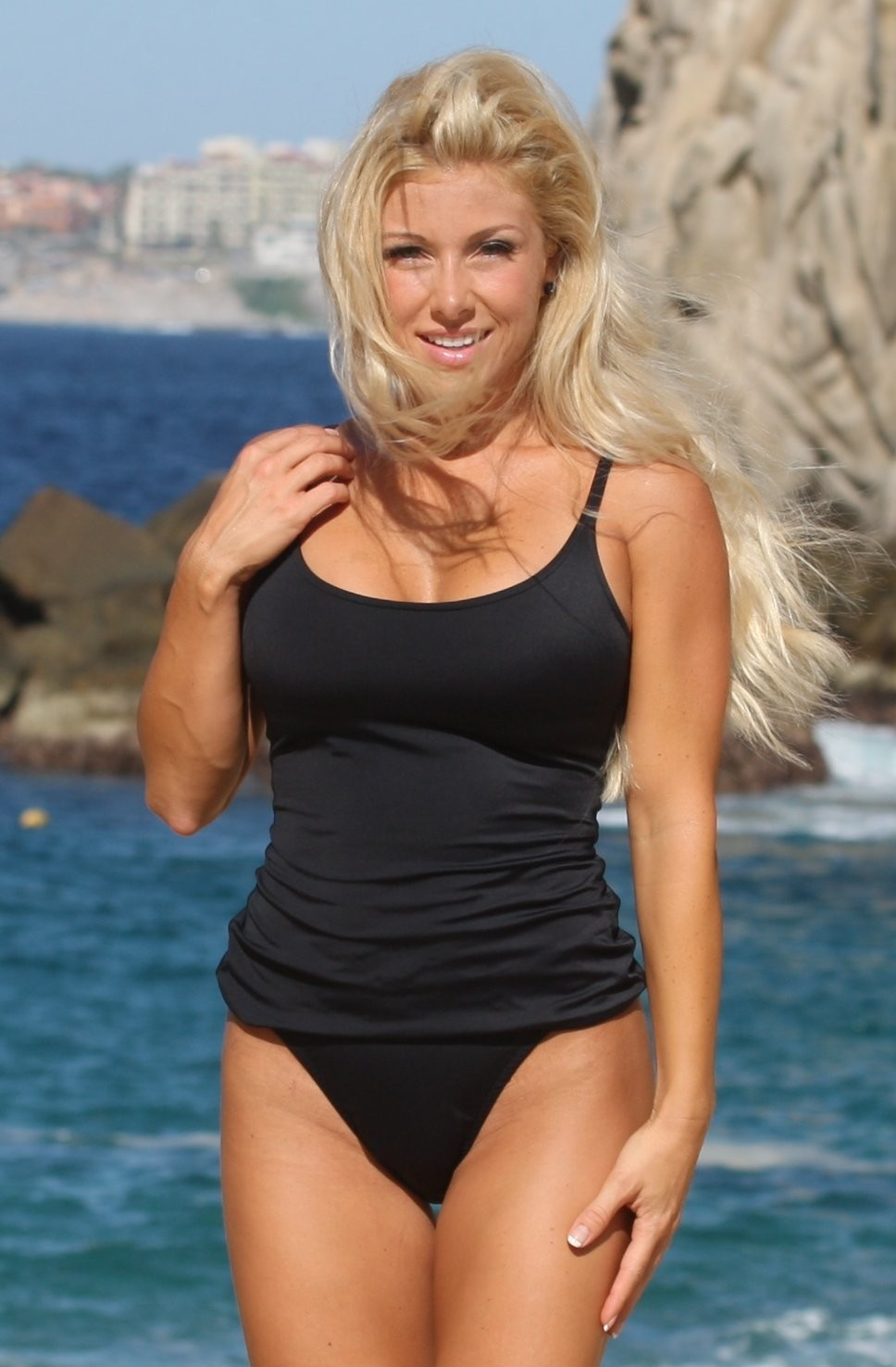SERENNA Black High Cut Leg Tankini