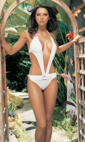 1 Pc One Piece White Cut Out Front and Sides Monokini Swimsuit ~ S