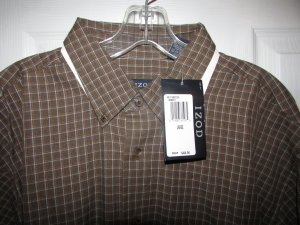 IZOD Brown Check Button Front Shirt - L XL