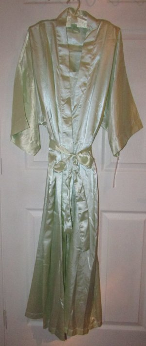 MINT GREEN Satin Long Chemise Nightgown, Robe & Hanger 3 Piece Set -L