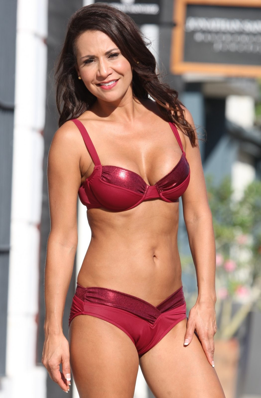 KARLIE Deep Red Metallic Underwire Shaper Bikini