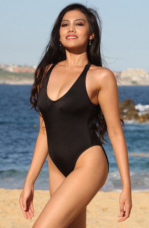 ANA 1 Pc Shiny Black High Cut Legs Swimsuit