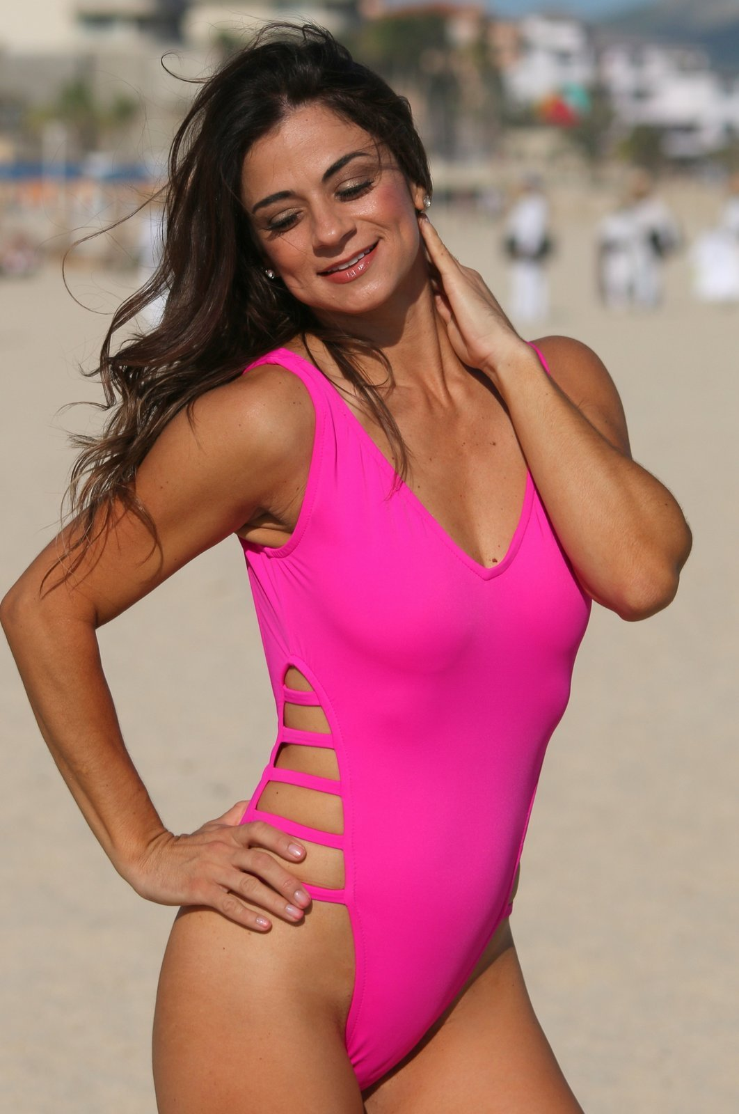 KYLIE 1 Pc Neon Pink Ultra High Cut Legs Swimsuit